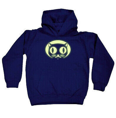 Funny Kids Childrens Hoodie Hoody - Halloween Cat Face Glow In The Dark