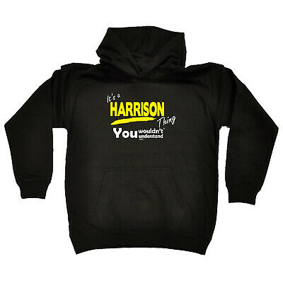 Funny Kids Childrens Hoodie Hoody - Harrison V1 Its A Surname Thing