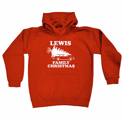 Funny Kids Childrens Hoodie Hoody - Family Christmas Lewis Surname