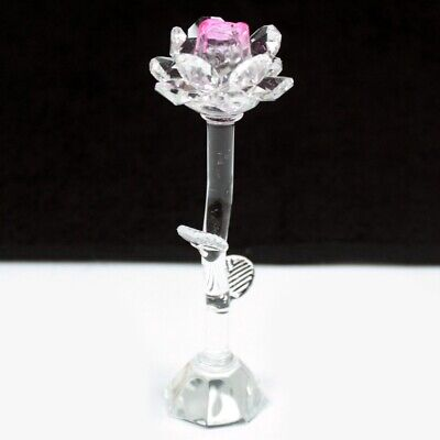 Pink Star Crystal Rose Ornament, 14 cm Tall, Comes In A Nice Gift Box,