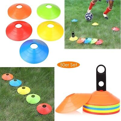 50 Pack Fitness Exercise Sports Training Discs Markers Cones Soccer Rugby Set AU