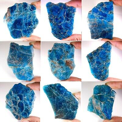Natural Excellent Blue Apatite Crystal Specimen Minerals Loose Gemstone PS45