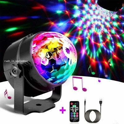 Disco Ball Lights USB Power 3W RGB Party Effect Sound Active w/ Remote Control