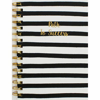 A5 Wiro Black and Gold Quote Lined Notebook (Hardback), Stationery, Brand New