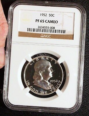 1952 NGC PR65 Cameo Franklin Half Dollar Proof PF65 CAM PQ Eye Appeal Beauty