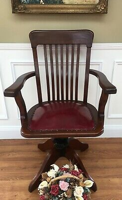 Vintage Mahogany Captain Swivel Desk Chair