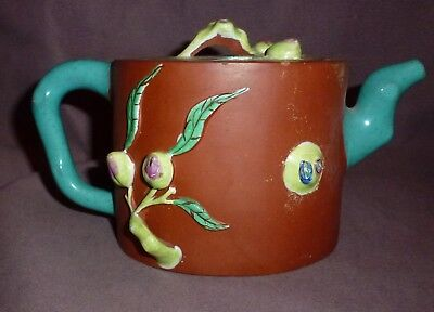 Antique Yixing Teapot Signed Enamel Painted with Persimmon & Vines Turquoise