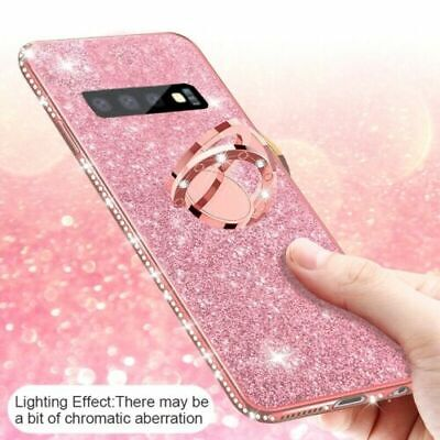 For Samsung Galaxy S10 Plus S10e Plating Bling Glitter Ring Kickstand Case Cover