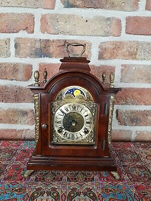 Dutch Table clock, Moon Phase, Double bell with Walnut body 1978,
