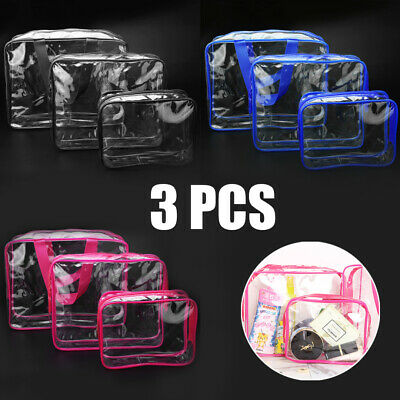 3 PCS Clear PVC Travel Wash Bag Cosmetic Makeup Toiletry Holder Pouch Set Kit US