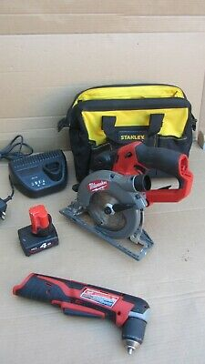 Milwaukee M12 CCS44, Cordless Compact Circular Saw plus right angle drill