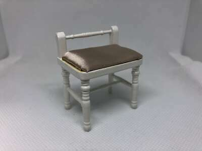 Dolls House Miniature 1:12th Scale White & Champagne Bedroom Stool, Furniture.