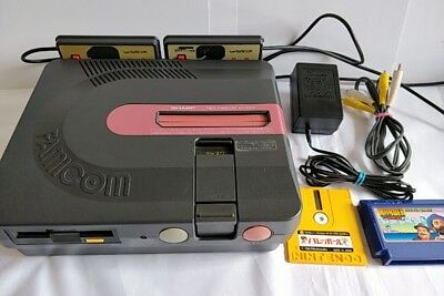 SHARP TWIN FAMICOM console AN-500B,AV cable,PSU and games set tested-a1026-