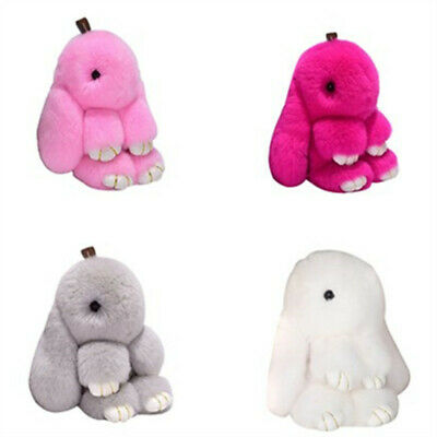 Rabbit Fur Pendant Fluffy Pompom Bunny Doll Handbag Key Chain Keyring 4 Colors