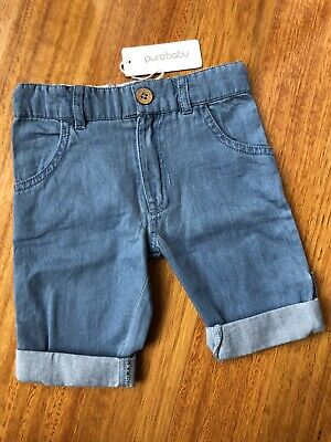 BRAND NEW WITH TAGS! PUREBABY Blue Chambray Roll-up Jean - Size 00