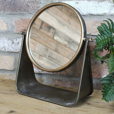 New Industrial Metal Round Cheval Dressing Table Bathroom Makeup Shaving Mirror