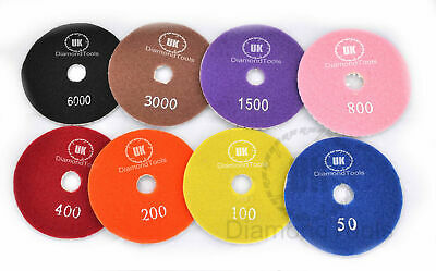 8pcs Wet or Dry 7inch 180mm Diamond Polishing Pads Marble Individual Grits NEW