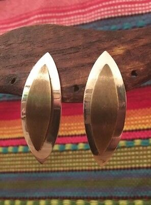Large Vintage Taxco Sterling Silver Brass Accent Leaf Post Back Earrings
