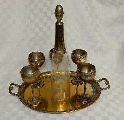 Vintage Etched Glass Decanter with Silver Plated Neck & Stopper Tray & 5 Goblets