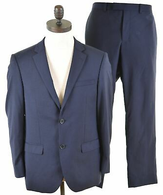 DKNY Mens 2 Piece Suit Size 38 Medium W34 L28 Navy Blue Wool Slim Fit  IX26