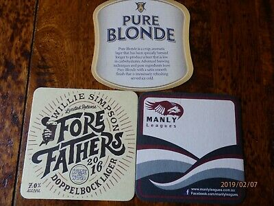 3 X Beer coasters - Pure Blonde, Manly Leagues, Fore Fathers Limited Release
