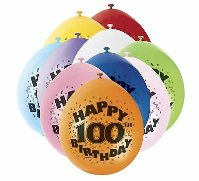 10 Happy Birthday Balloons Latex Number & Wording Printed Age 100 Party Decor