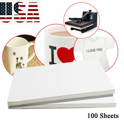 100Sheets A4 Dye Sublimation Heat Transfer Paper for Mug Plate Polyester tool US