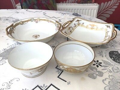Japanese Noritake Bowls in White Cream and Gilding Very Collectable