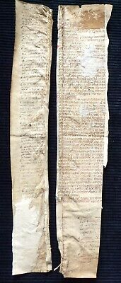 2 Pieces of Medieval Vellum Document in Latin, 15th Century ?