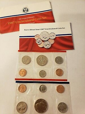 1987 U.S Mint Uncirculated Coin Set with D and P Mint Marks (10 Coins)
