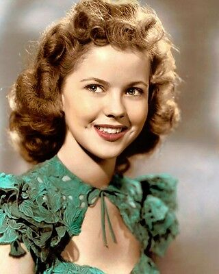 """SHIRLEY TEMPLE I'LL BE SEEING YOU 1944 ACTRESS 8x10"""" HAND COLOR TINTED PHOTO"""