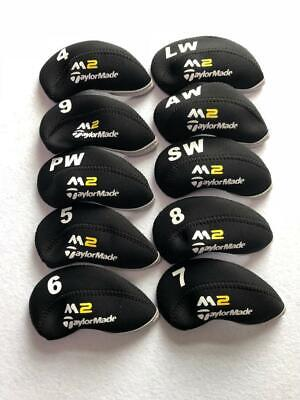 10PCS Protective Iron Headcovers for Taylormade M2 Club Covers Black&Black 4-LW