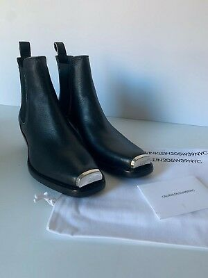 ba4d5a9517c Calvin Klein 205W39NYC Western Metal Chelsea Distressed Leather Boots Raf  Simons