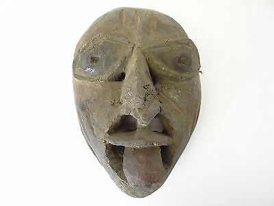 Antique Old Carved African Painted Red and Black Devil Mask Facemask Decorative