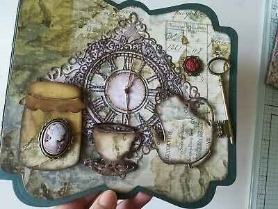 Vintage tea cup theme photo album (steampunk) 8x7.5 inches
