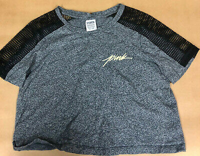 Girls Slouchy Top from Pink, Size XS, Charcoal with Mesh Sleeves