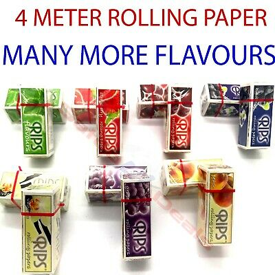 Rips Flavored Rolls Cigarette Rolling Papers 4 Meter Long Multi Flavors Uk