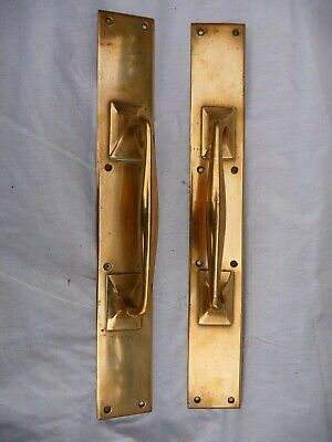 "Antique Edwardian Pair Large Polished Bronze Door Handles 18"" Plates Shop Pulls"
