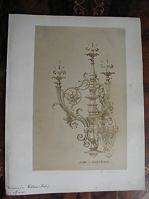 Albumen Photo Gas Light Fitting Wall Sconce  c1870