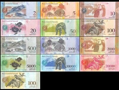 VENEZUELA Set of 11 banknotes from 2 - 100000 ( 2015- 2017) UNC LOT OF ANIMALS