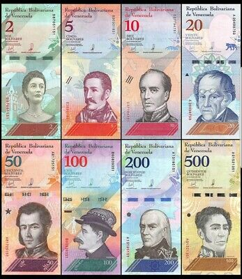 VENEZUELA new Set of 8 banknotes from 2 - 500 ( 2018 ) UNC LOT OF ANIMALS