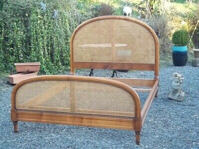 French Vintage Fabulous Sought After Cane Double Bed Style Louis Phillippe