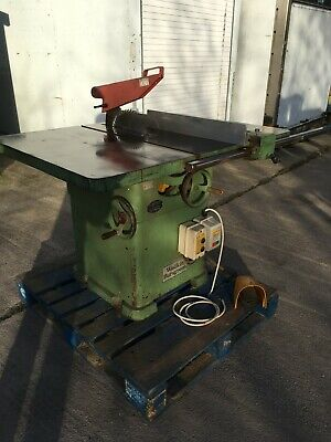 """Panel Table Saw, Wadkin,12"""" Blade, 4""""Cut. Three Phase, Rise and Fall 45 Tilt."""