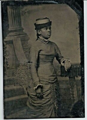 Antique Tintype Black Americana / African American Woman With Hat & Pearls