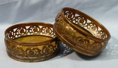 PAIR OF ANTIQUE 19th CENTURY COPPER CHAMPAGNE / WINE BOTTLE HOLDERS / COASTERS