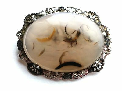 Antique Victorian Sterling Silver Moss Agate Pin # 2