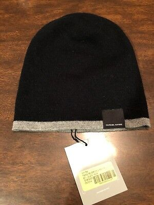 New Canada Goose Merino Wool Ball Cap Black Authentic Hologram Hat Ear Flaps.