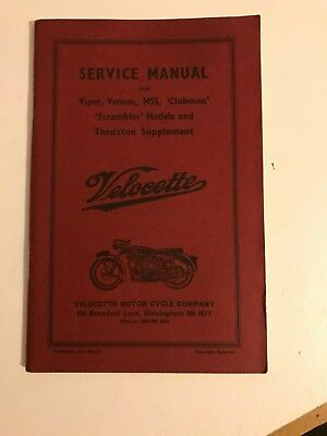 Velocette Service Manual 1974 Brand New