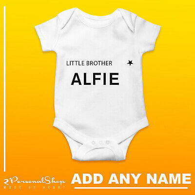 PERSONALISED LITTLE BROTHER VEST BABYGROW CLOTHING SHOWER GIFTS BOY GIRL UNISEX