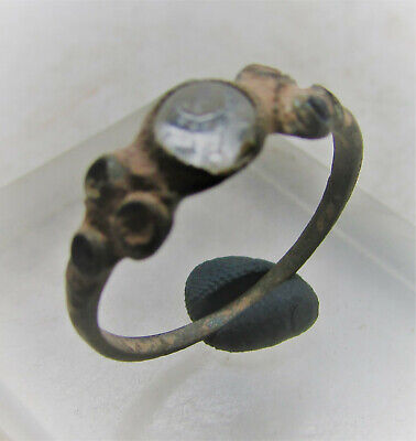 Beautiful Post Medieval Bronze Ring With Mutiple Stone Inserts